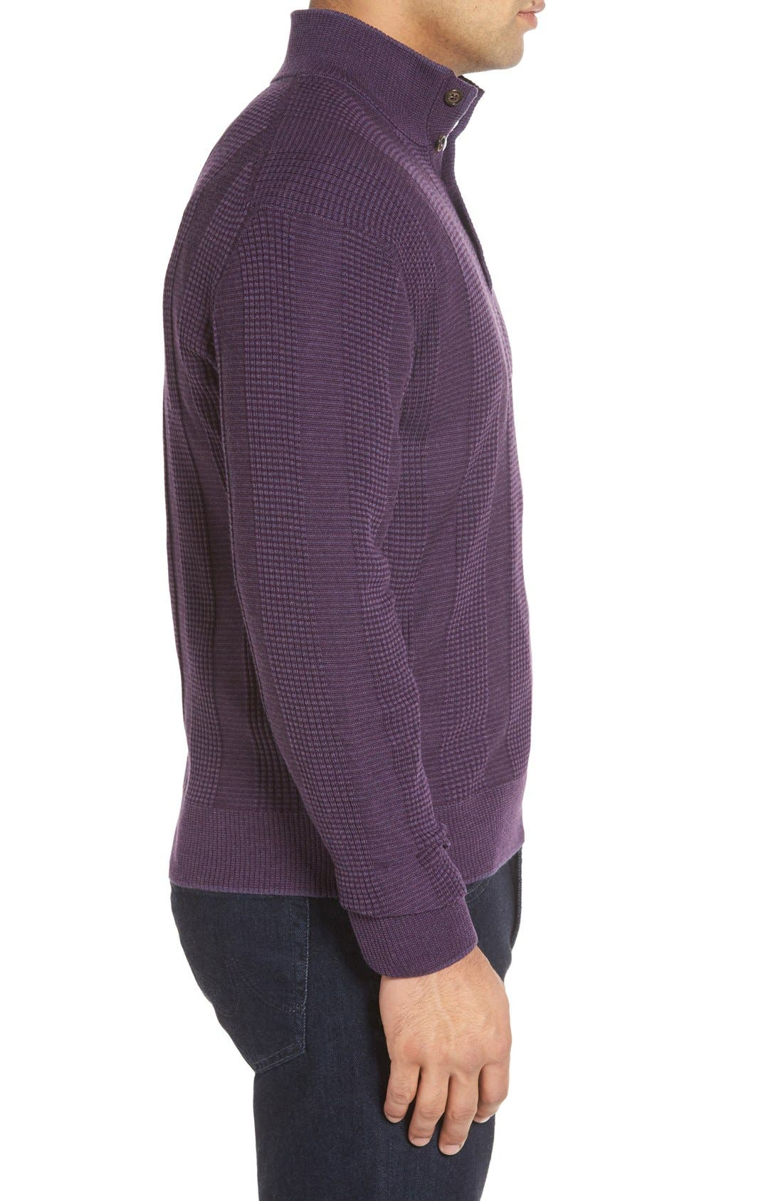 'Legacy Collection' Mock Neck Wool Sweater,                             Alternate thumbnail 3, color,                             Concord
