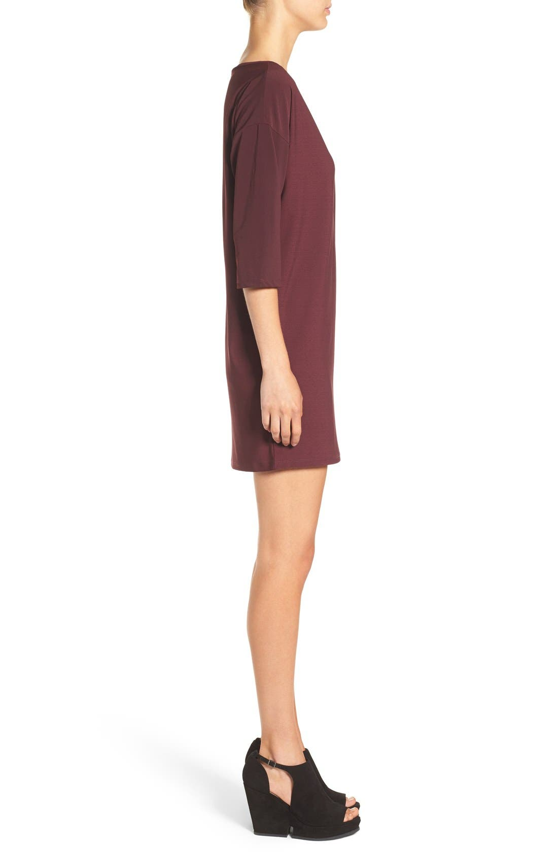 Dolman Dress,                             Alternate thumbnail 3, color,                             Burgundy Stem
