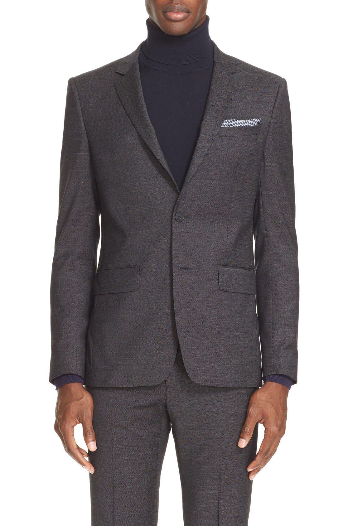 Extra Trim Fit Textured Wool Suit,                             Alternate thumbnail 5, color,                             Black