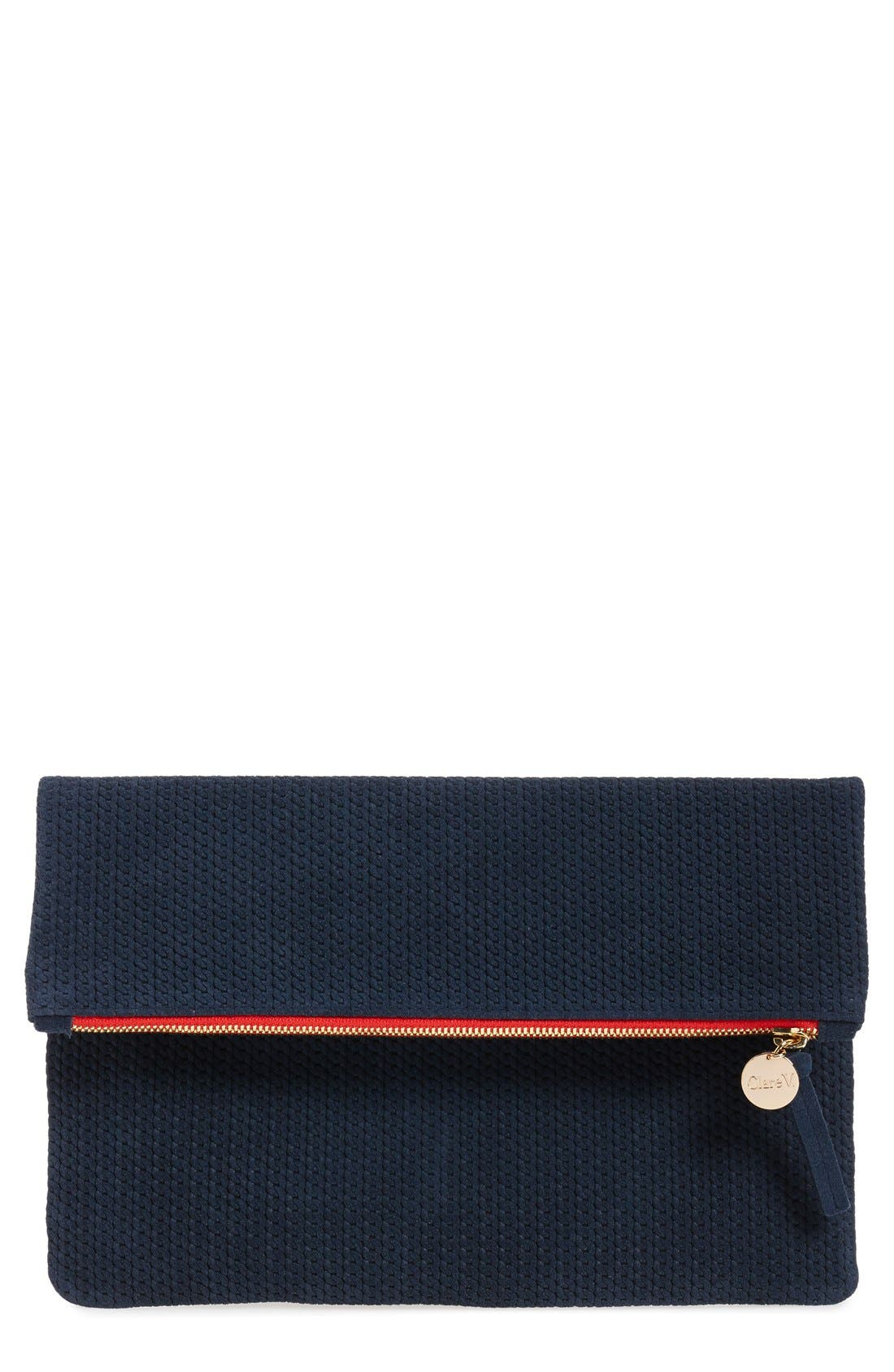 Main Image - Clare V. 'Marine Rope' Woven Suede Foldover Clutch