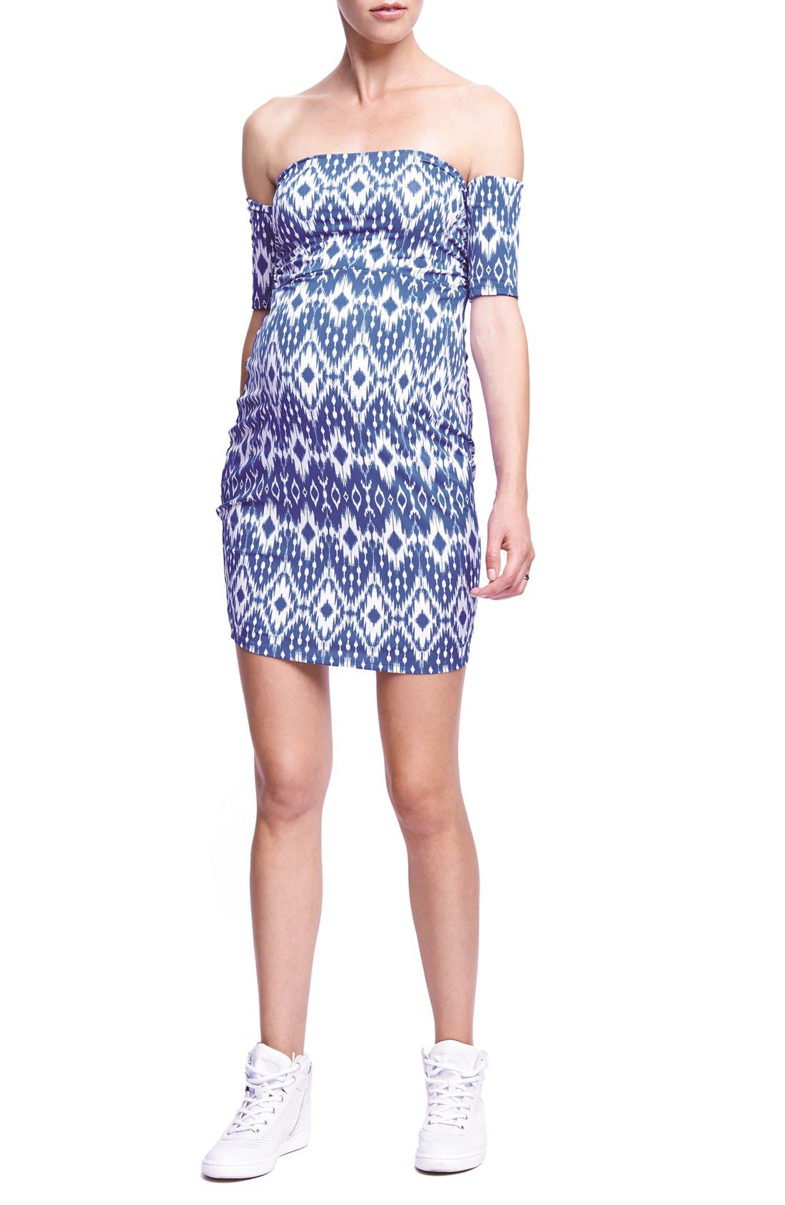 The Urban Ma Print Off the Shoulder Maternity Dress