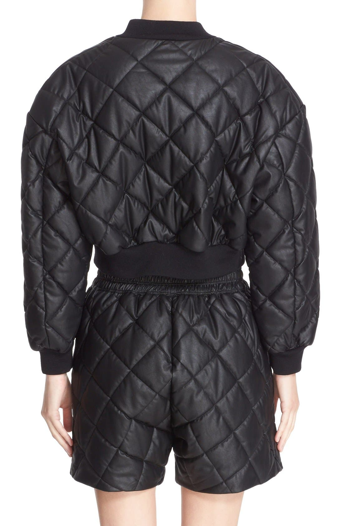 Crop Quilted Puffer Jacket,                             Alternate thumbnail 2, color,                             Black