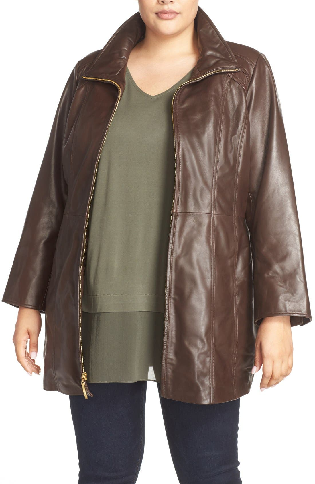 Leather Walking Coat,                         Main,                         color, Brown