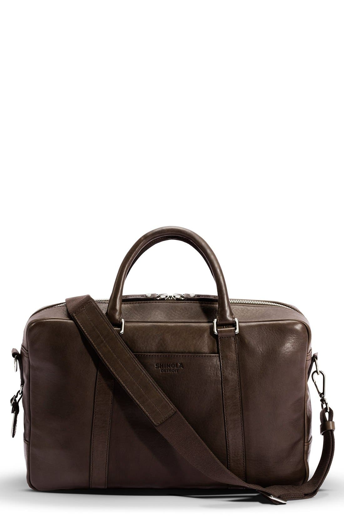 Signature Leather Slim Briefcase,                         Main,                         color, Deep Brown
