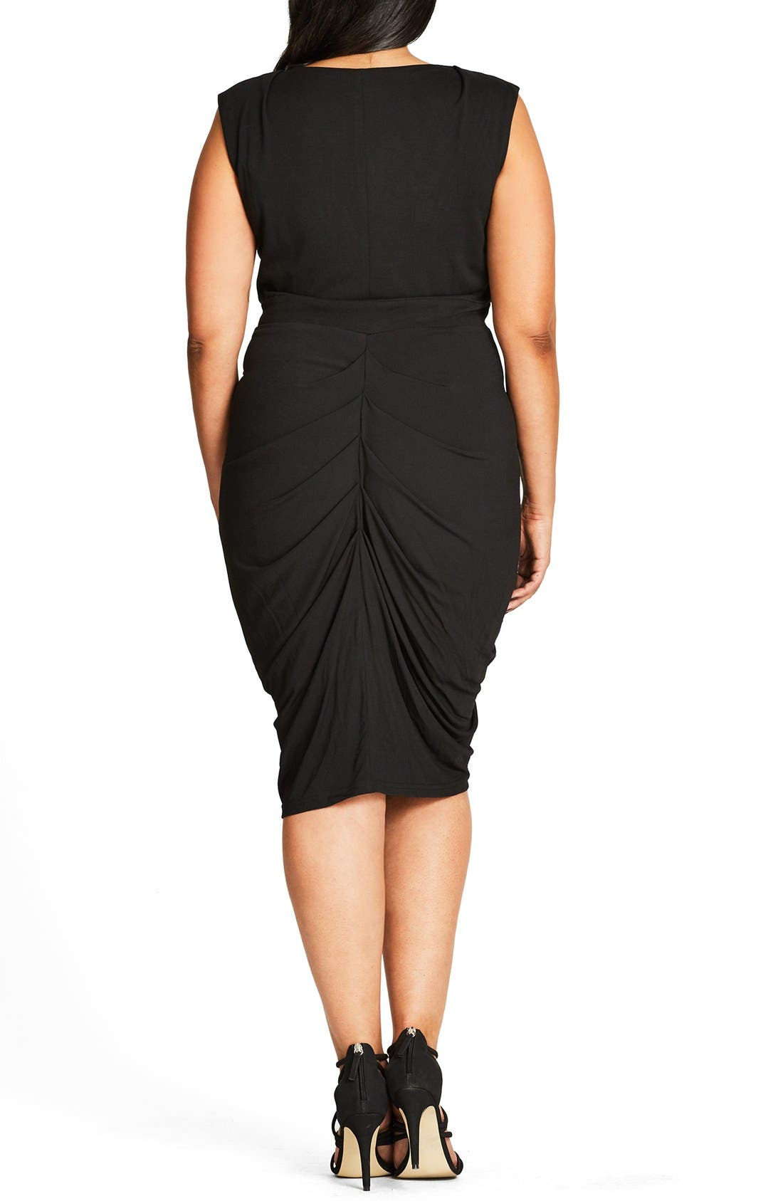Sleeveless Ruched Zip Front Dress,                             Alternate thumbnail 2, color,                             Black