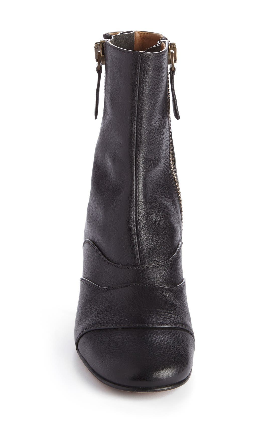 'Lexie' Block Heel Boot,                             Alternate thumbnail 3, color,                             Black Leather