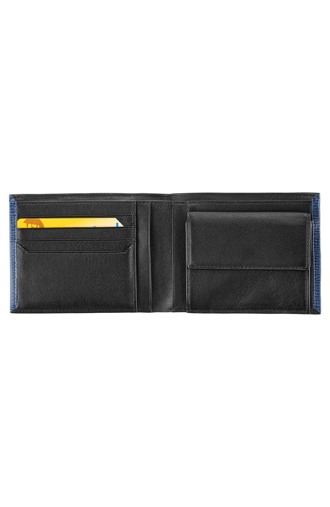 Monaco Global Leather Wallet with Coin Pocket,                             Alternate thumbnail 2, color,                             Cobalt