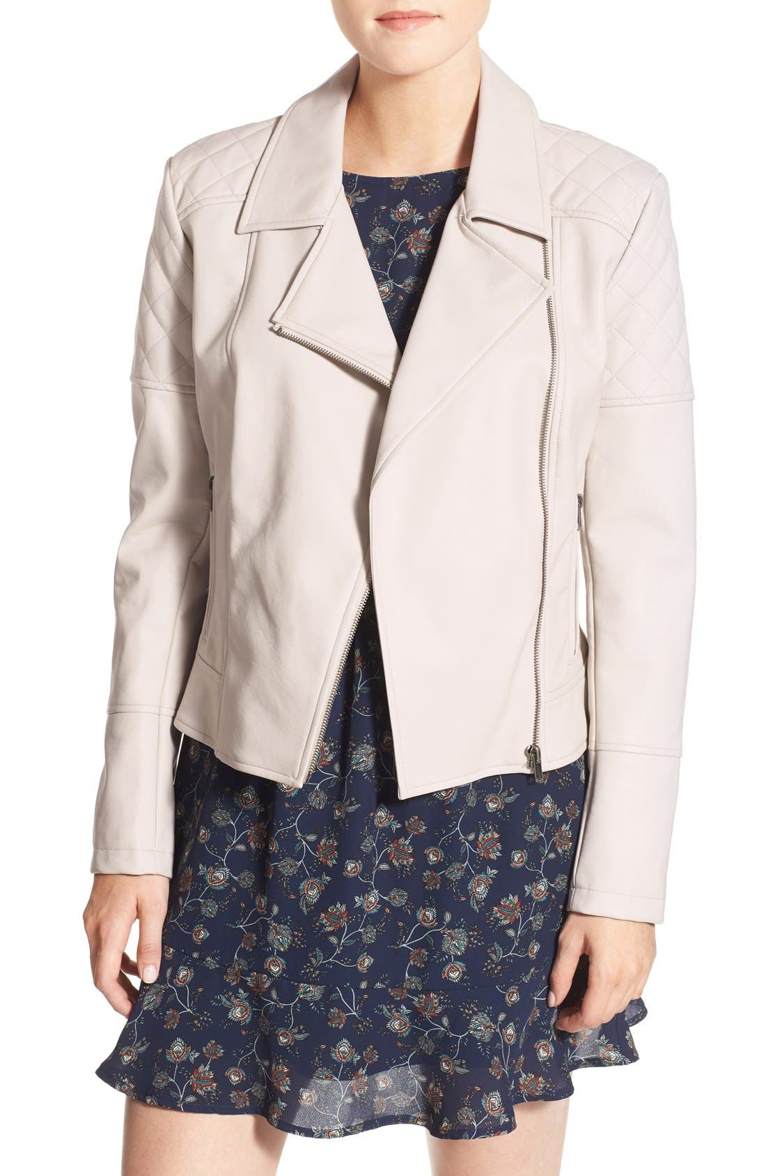 Main Image - cupcakes and cashmere 'Breck' Faux Leather Moto Jacket
