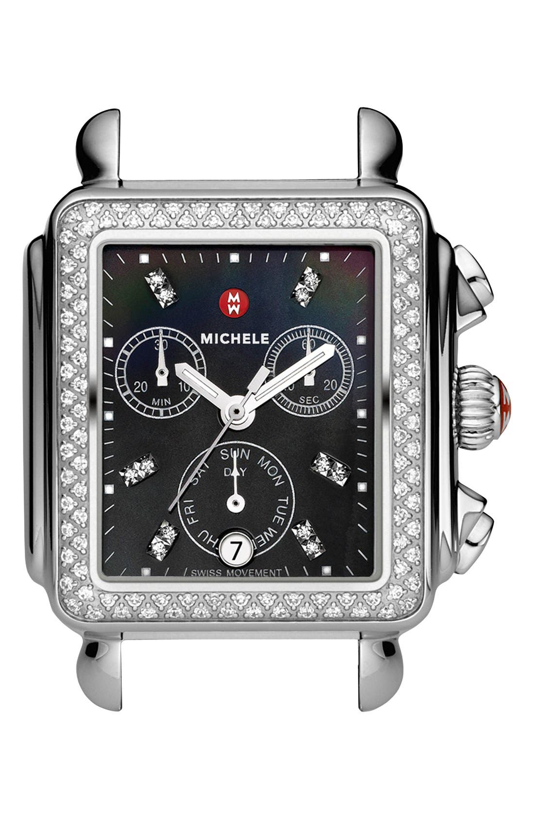 Deco Diamond Diamond Dial Watch Case, 33mm x 35mm,                             Main thumbnail 1, color,                             Silver/ Black