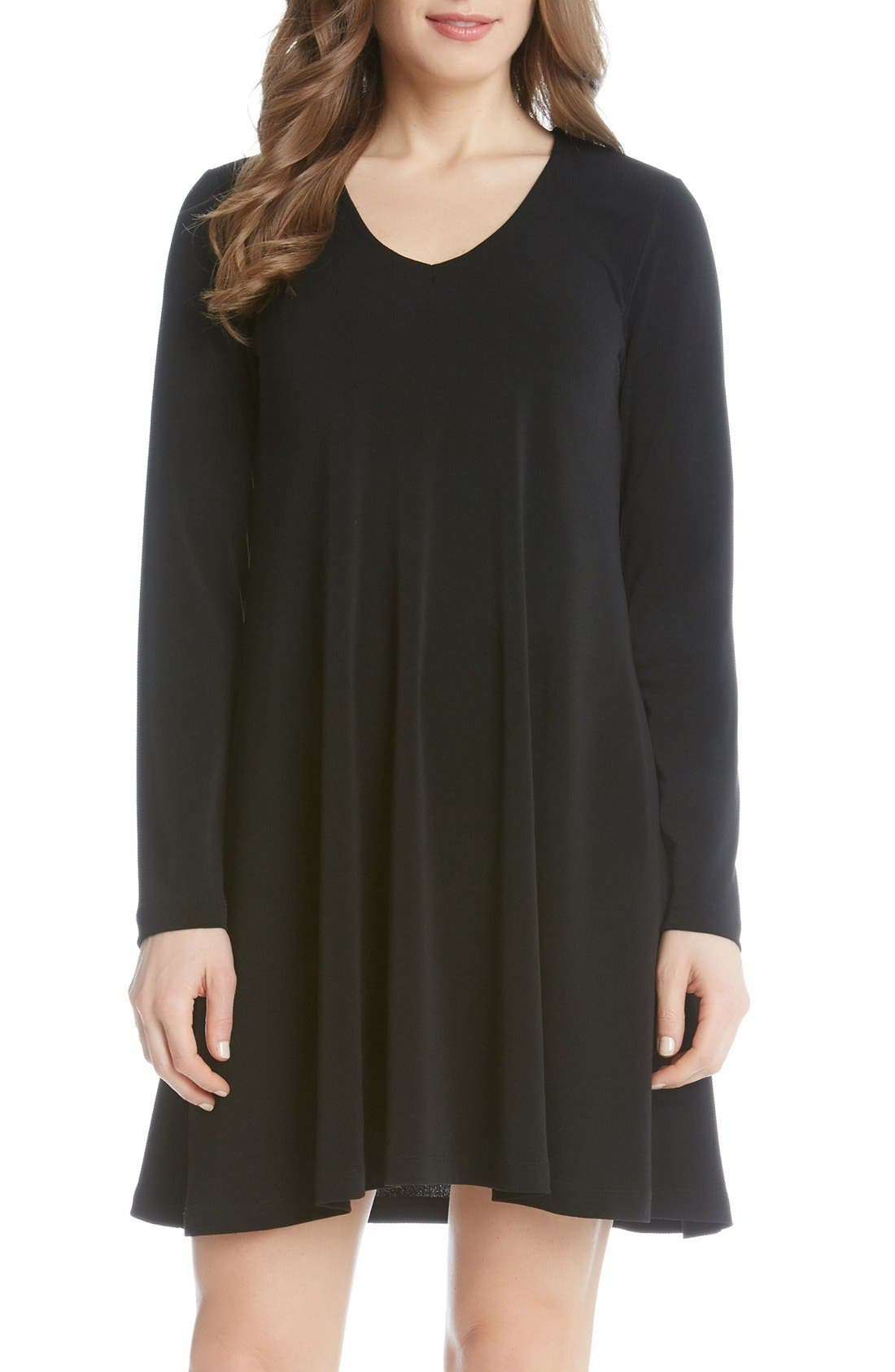 'Taylor' Long Sleeve A-Line Dress,                         Main,                         color, Black