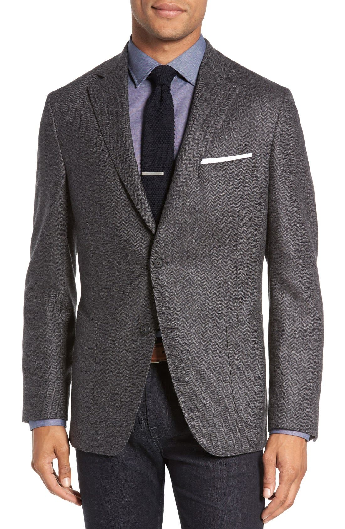 Beckett Classic Fit Herringbone Cashmere Sport Coat,                             Main thumbnail 1, color,                             Charcoal