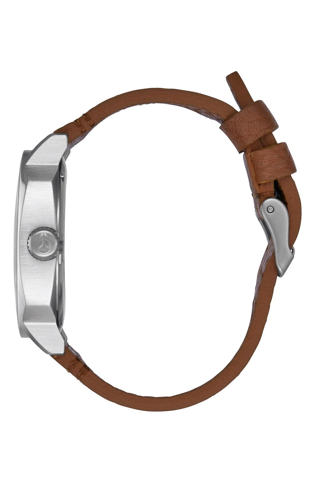 'The Regent' Leather Strap Watch, 42mm,                             Alternate thumbnail 3, color,                             Brown/ Black