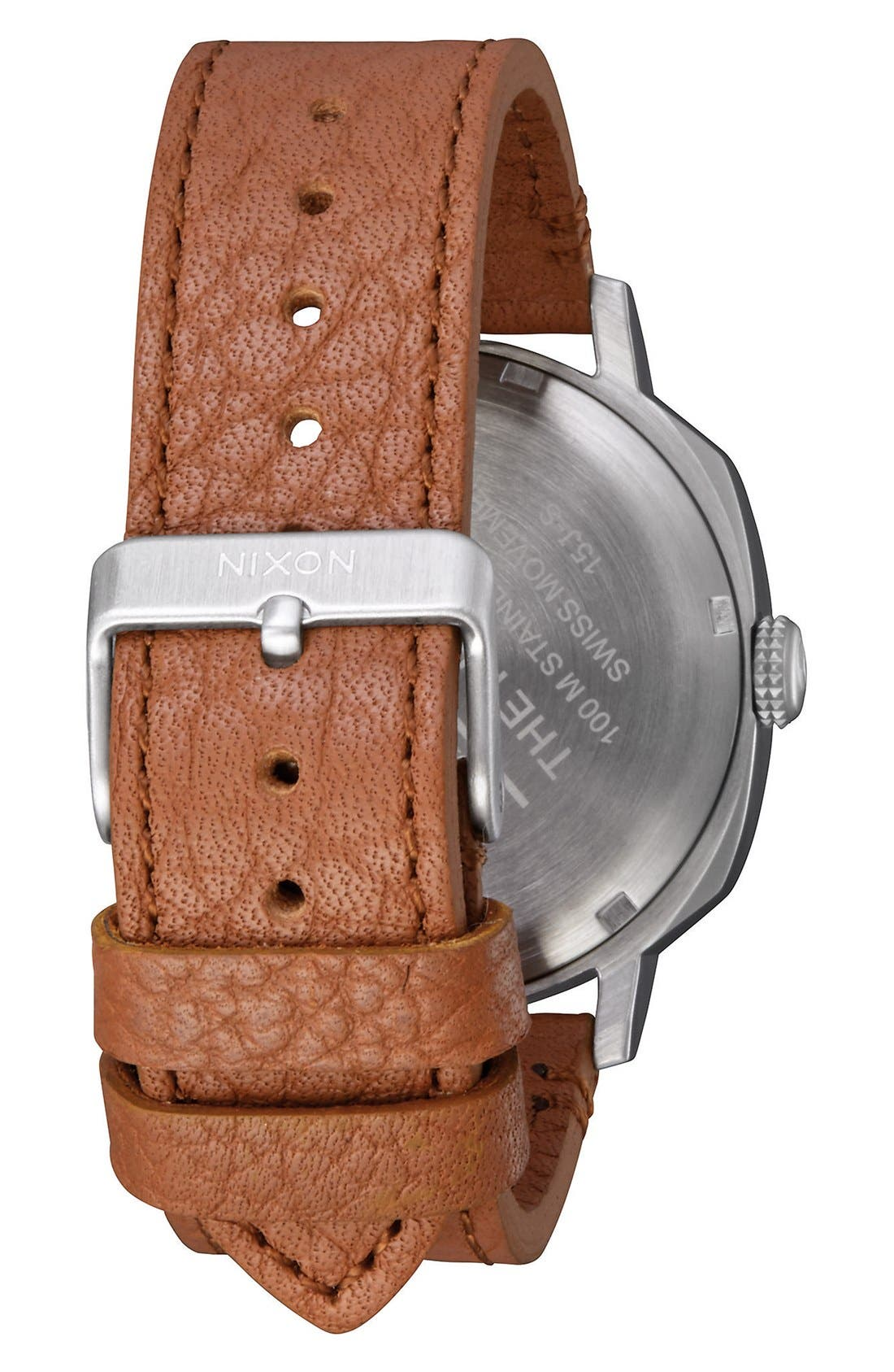 'The Regent' Leather Strap Watch, 42mm,                             Alternate thumbnail 2, color,                             Brown/ Black