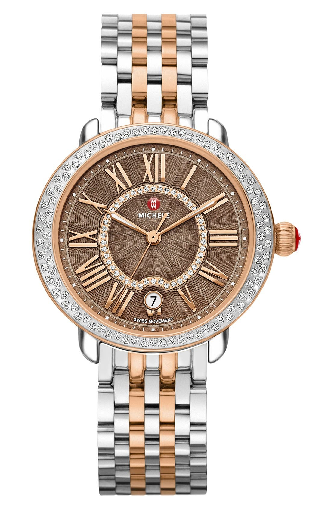 Serein 16 Diamond Watch Case, 34mm x 36mm,                             Alternate thumbnail 2, color,                             Rose Gold/ Cocoa