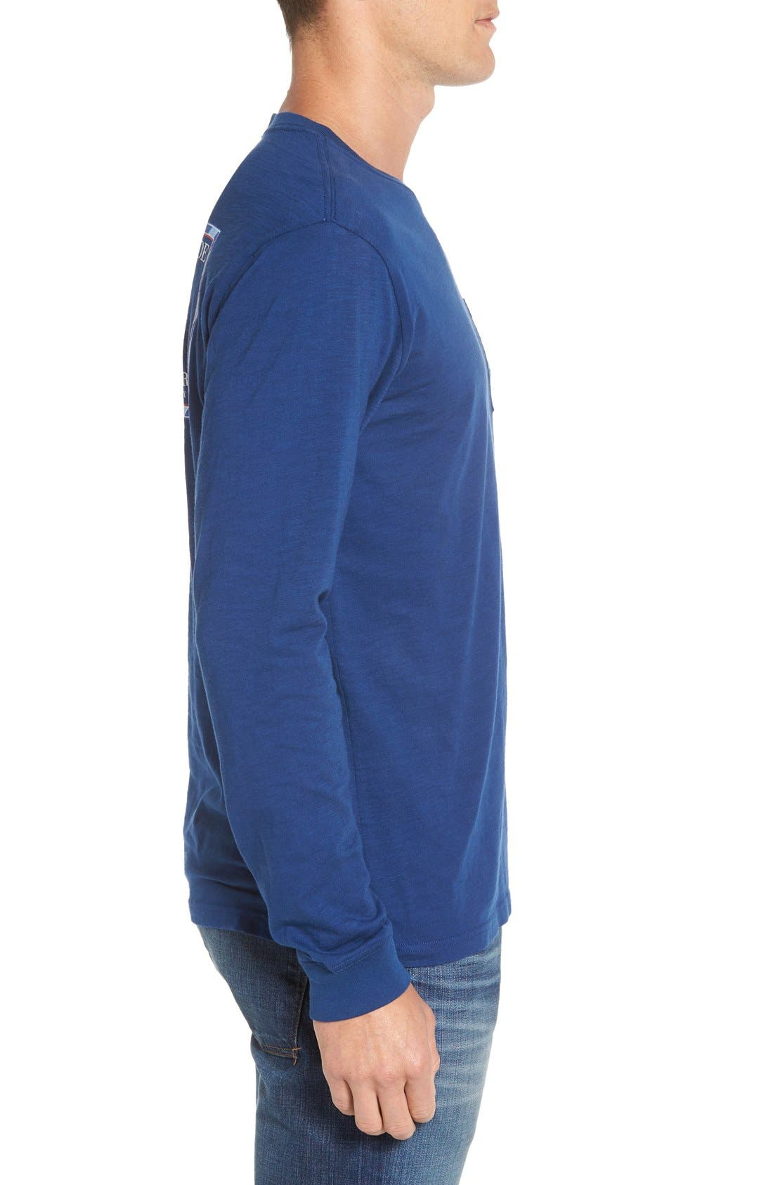 'Channel Marker' Graphic Pocket Long Sleeve T-Shirt,                             Alternate thumbnail 4, color,                             Yacht Blue
