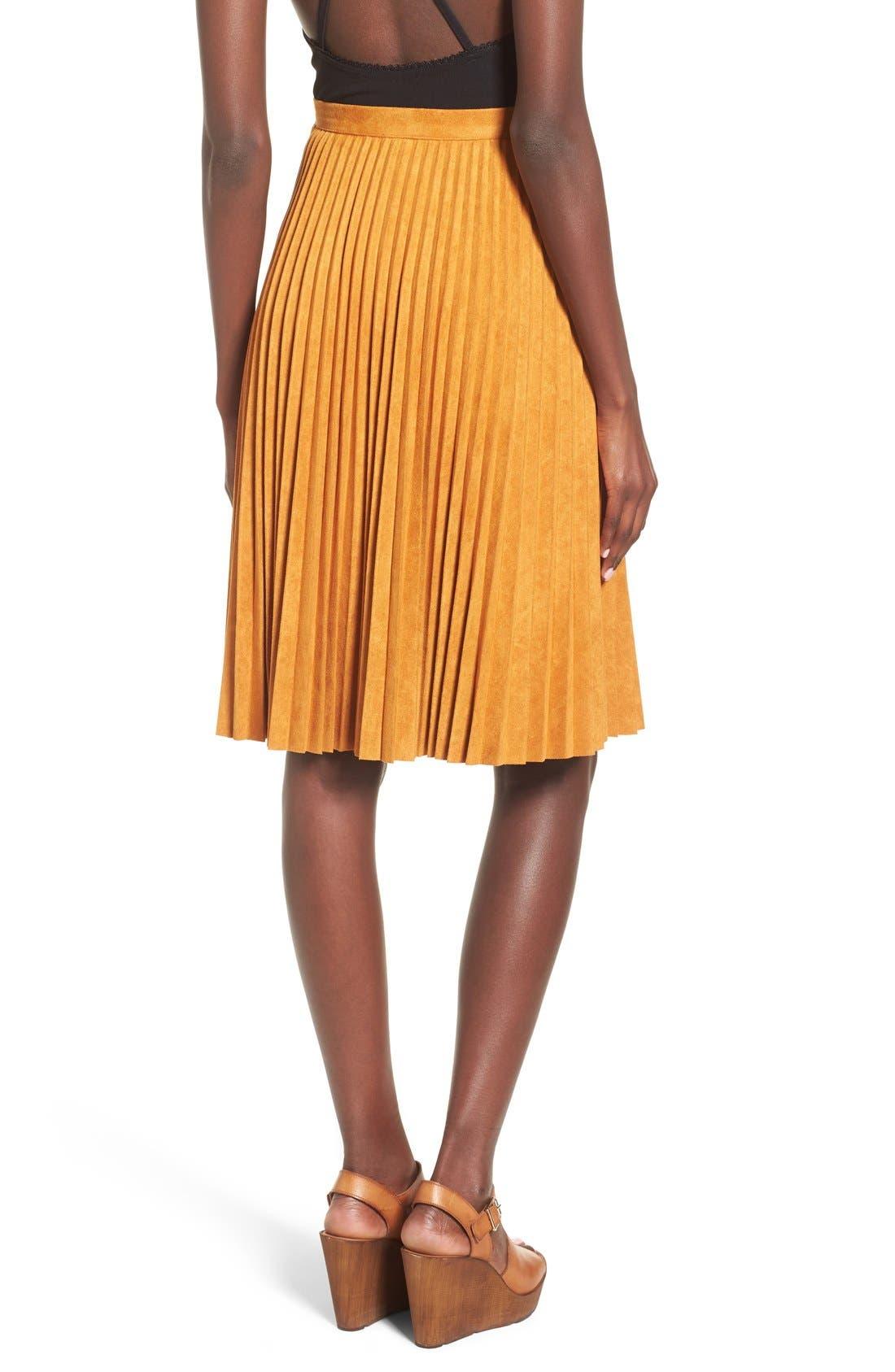Alternate Image 3  - Storee Pleated Faux Suede Skirt