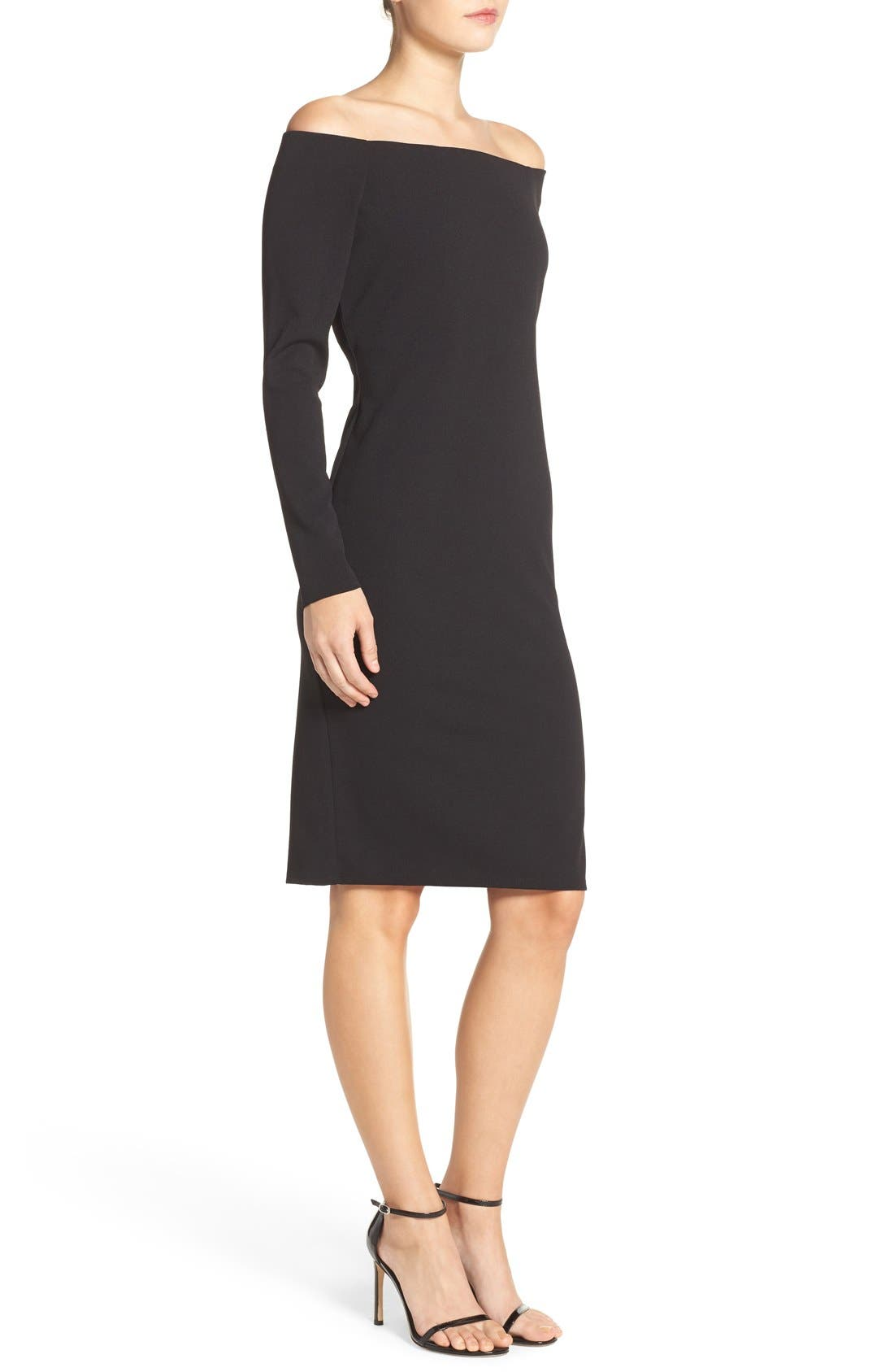Alternate Image 3  - Eliza J Off the Shoulder Scuba Sheath Dress (Regular & Petite)