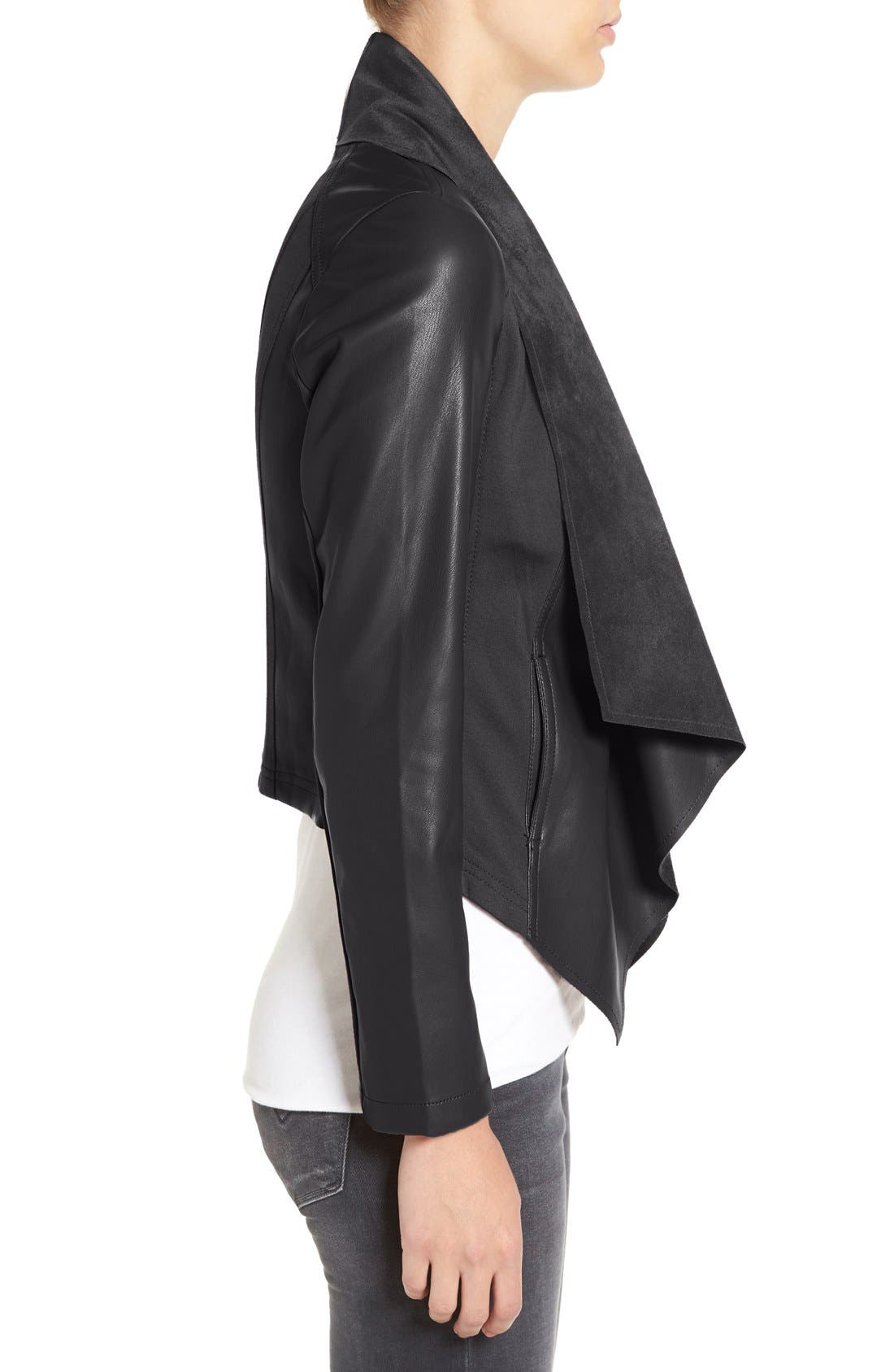 'Ana' Faux Leather Drape Front Jacket,                             Alternate thumbnail 3, color,                             Black