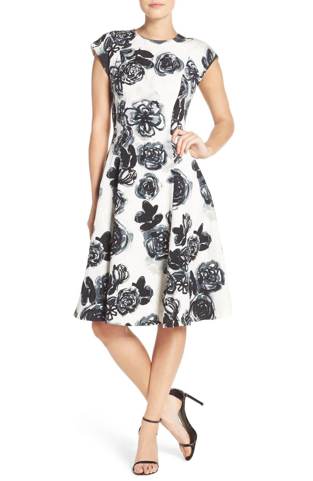 Alternate Image 4  - Sachin & Babi Noir 'Desiree' Floral Jacquard Fit & Flare Dress