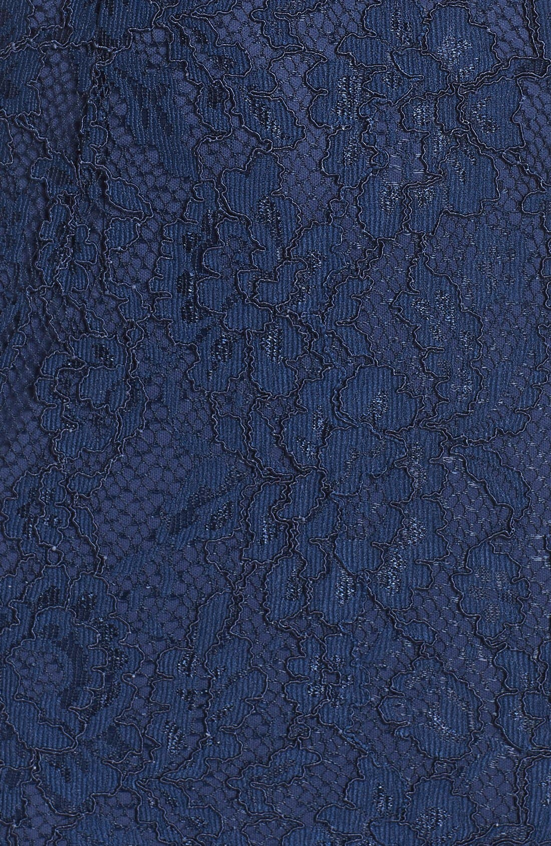 Spaghetti Strap Scallop Lace Mermaid Gown,                             Alternate thumbnail 5, color,                             Navy