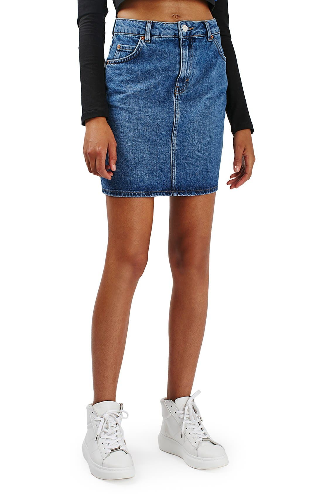 Alternate Image 1 Selected - Topshop Moto High Rise Denim Skirt