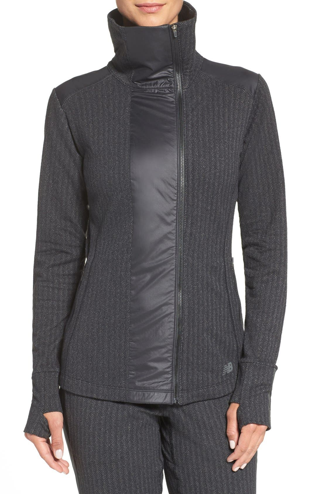 'Heat' Mock Neck Jacket,                         Main,                         color, Black