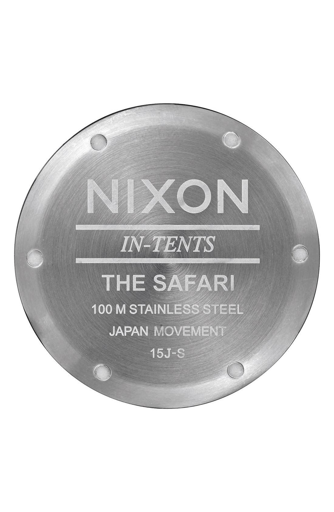 'Safari' Bracelet Watch, 43mm,                             Alternate thumbnail 4, color,                             Silver/ Gunmetal