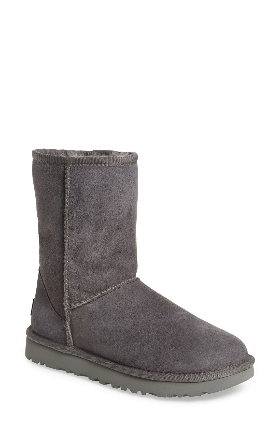 'Classic II' Genuine Shearling Lined Short Boot,                             Main thumbnail 1, color,                             Grey Suede