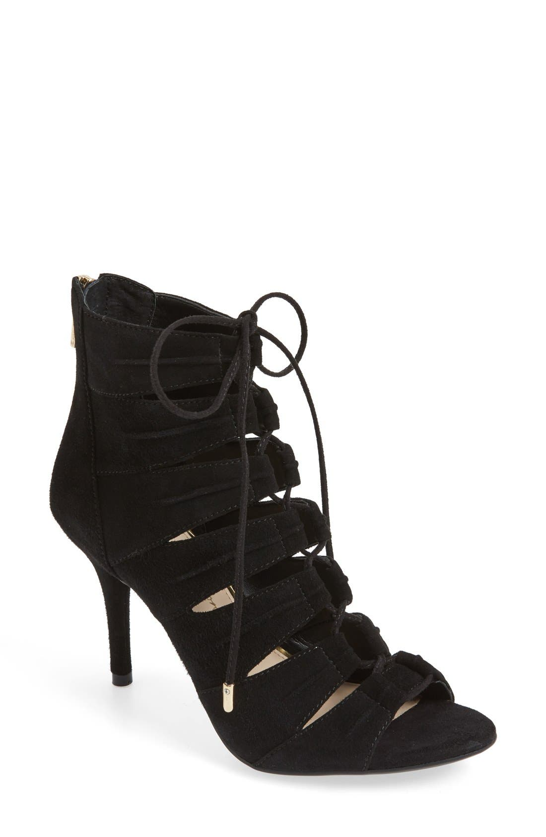 'Mahiri' Ghillie Open Toe Bootie,                             Main thumbnail 1, color,                             Black Suede