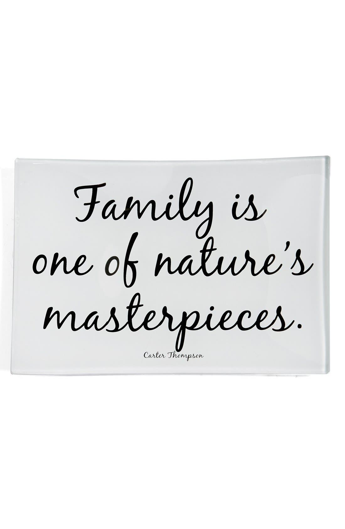 'Family Is One of Nature's Masterpieces' Trinket Tray,                             Main thumbnail 1, color,                             Brown