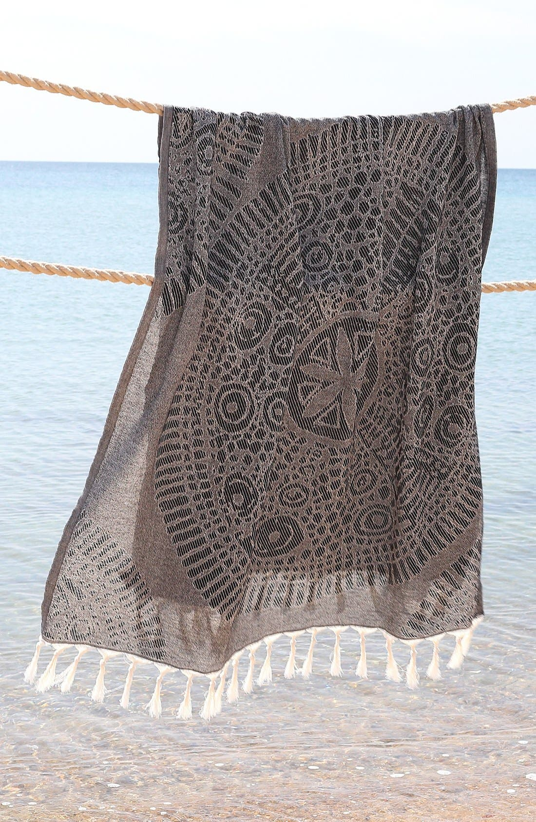 Anatolian Turkish Pestemal Beach Towel,                             Alternate thumbnail 4, color,                             Black
