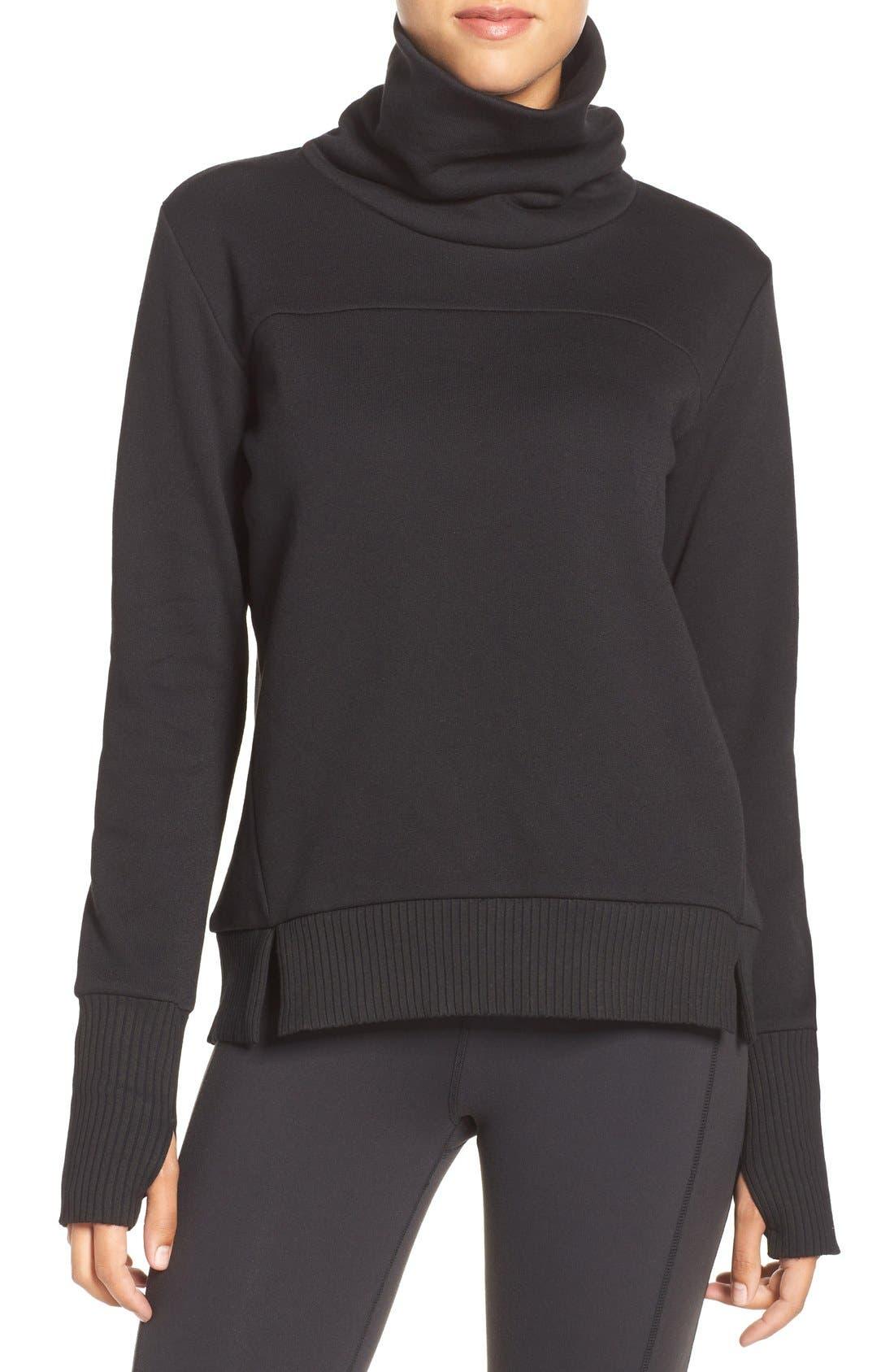 'Haze' Funnel Neck Sweatshirt,                             Main thumbnail 1, color,                             Black