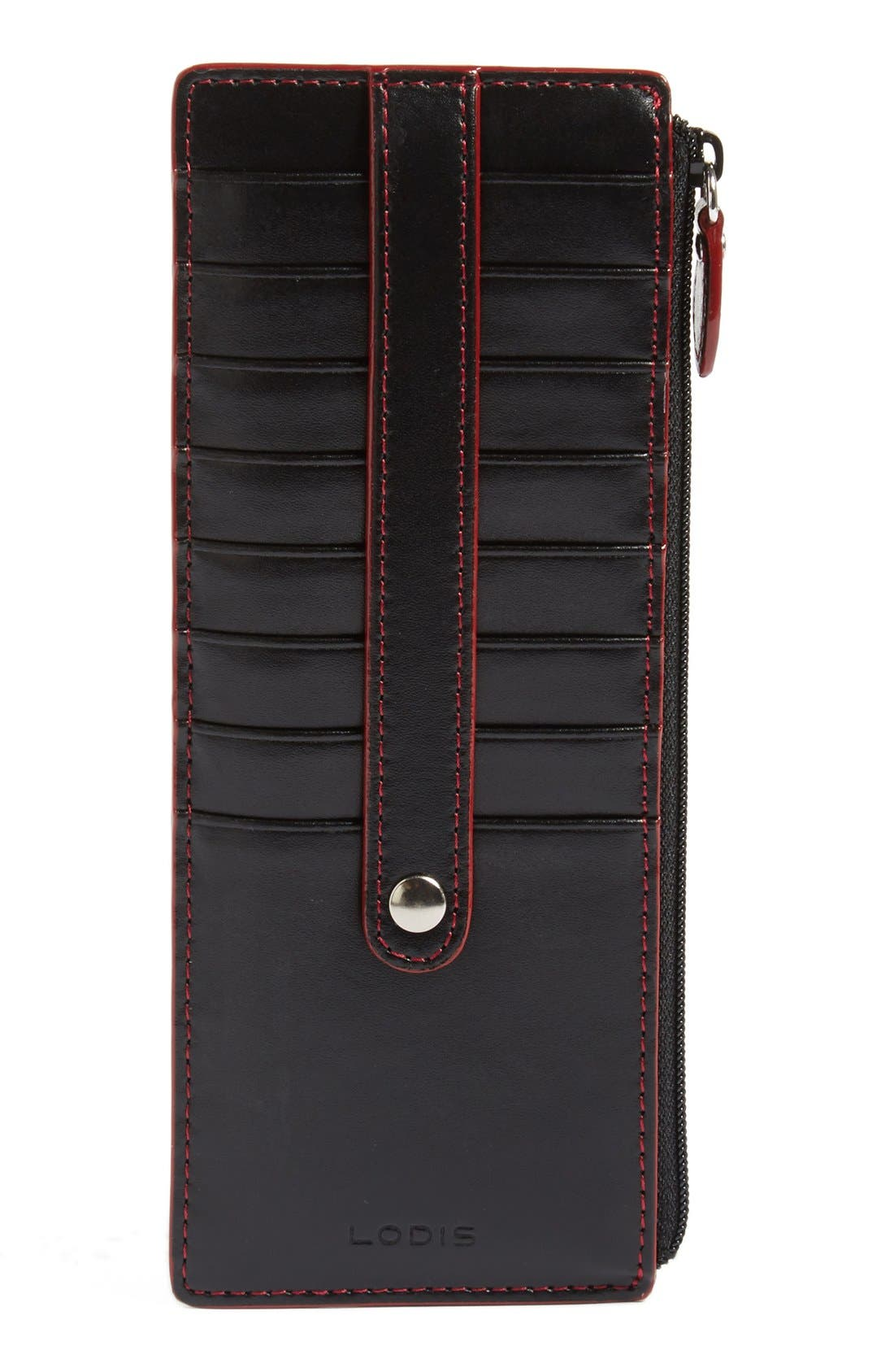 Audrey RFID Leather Credit Card Case,                             Main thumbnail 1, color,                             Black