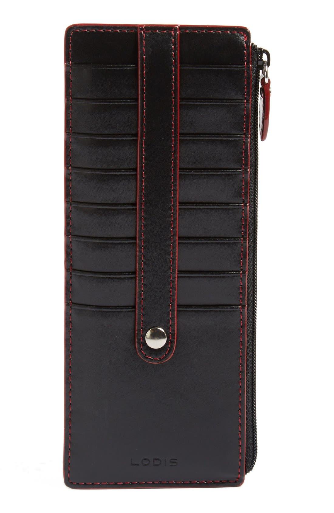 Audrey RFID Leather Credit Card Case,                         Main,                         color, Black
