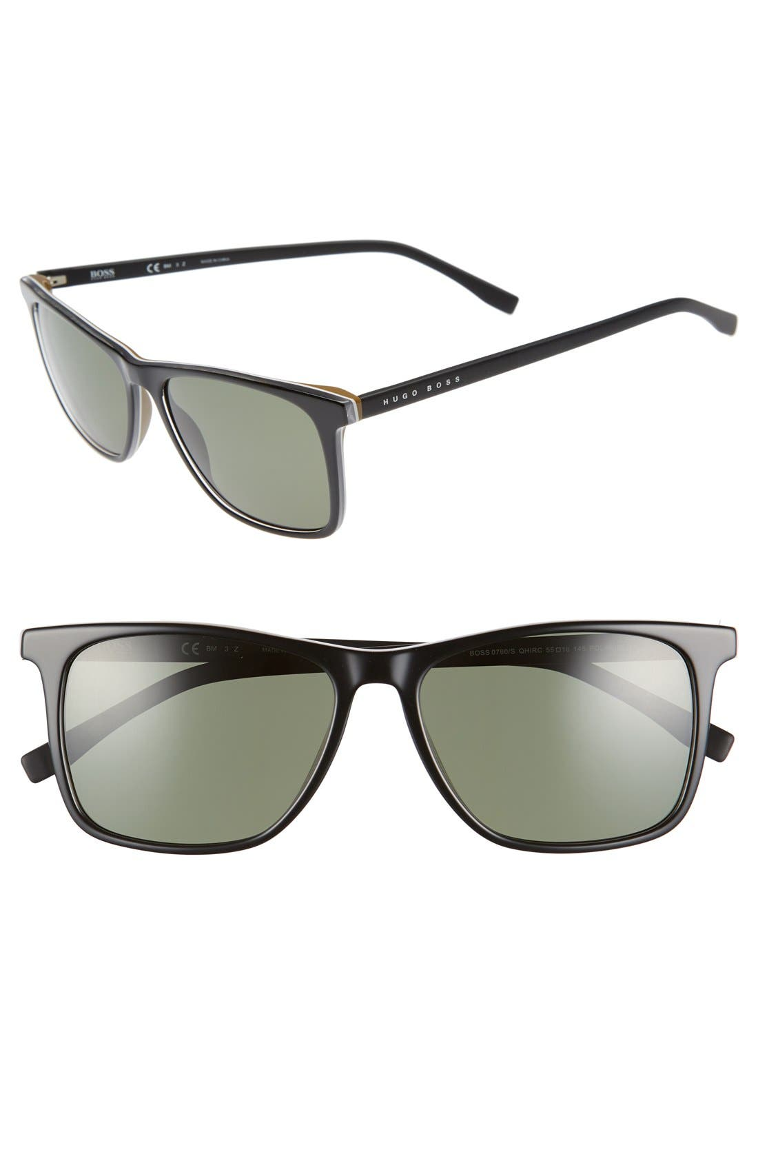 '0760/S' 55mm Sunglasses,                             Main thumbnail 1, color,                             Black