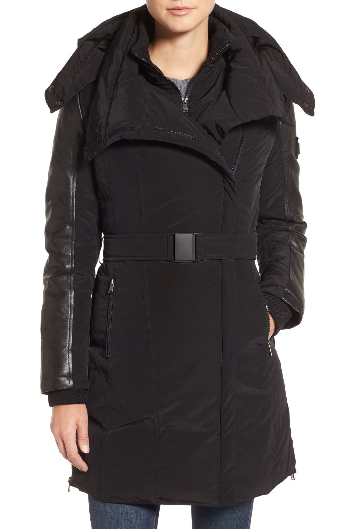 Asymmetrical Hooded Down Coat with Genuine Leather Trim,                         Main,                         color, Black