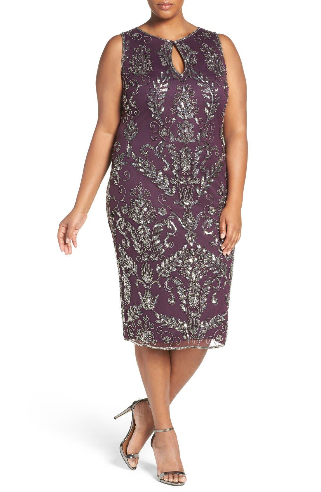 Embellished Tea Length Sheath Dress,                             Main thumbnail 1, color,                             Plum