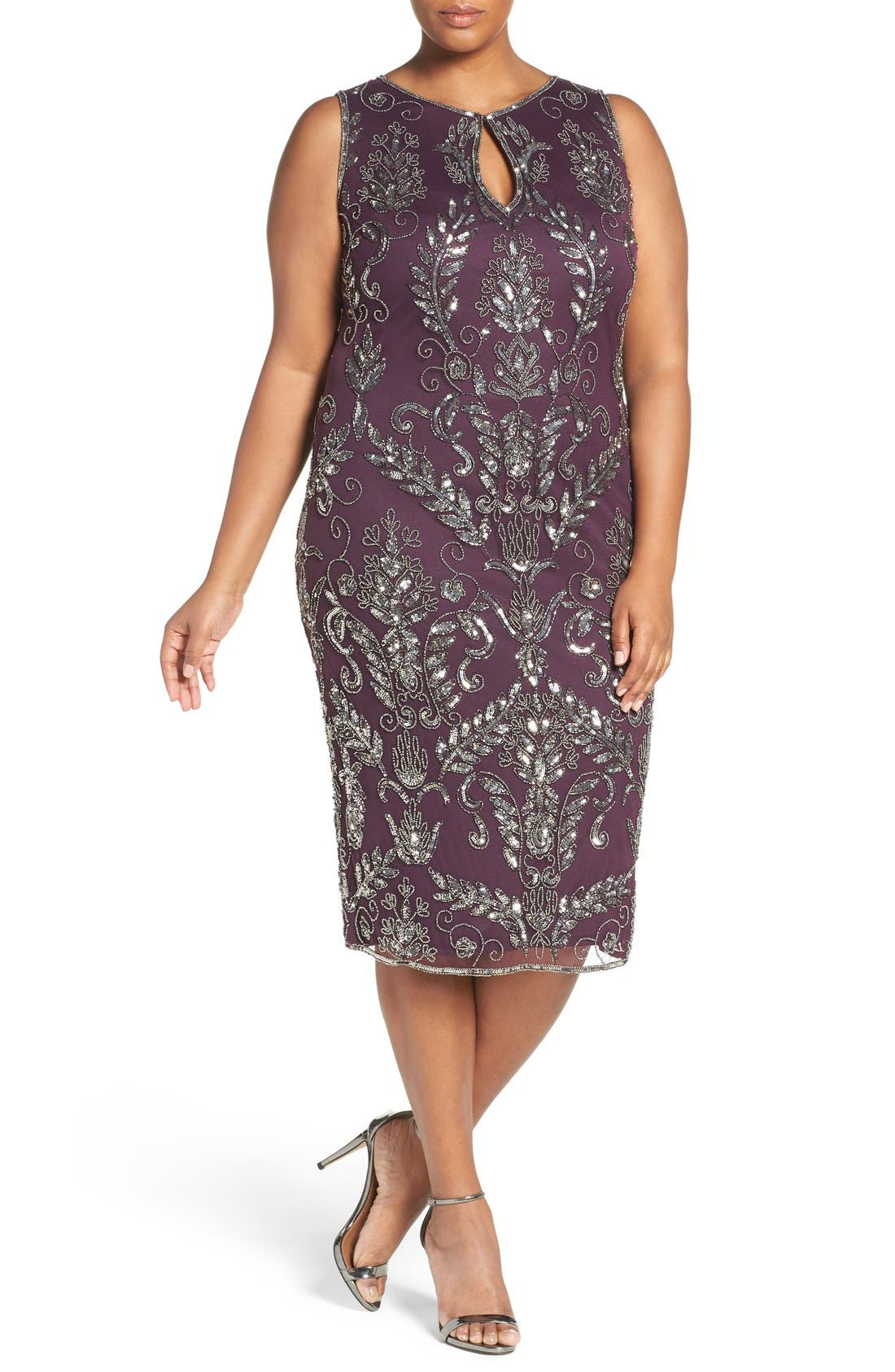 Embellished Tea Length Sheath Dress,                         Main,                         color, Plum