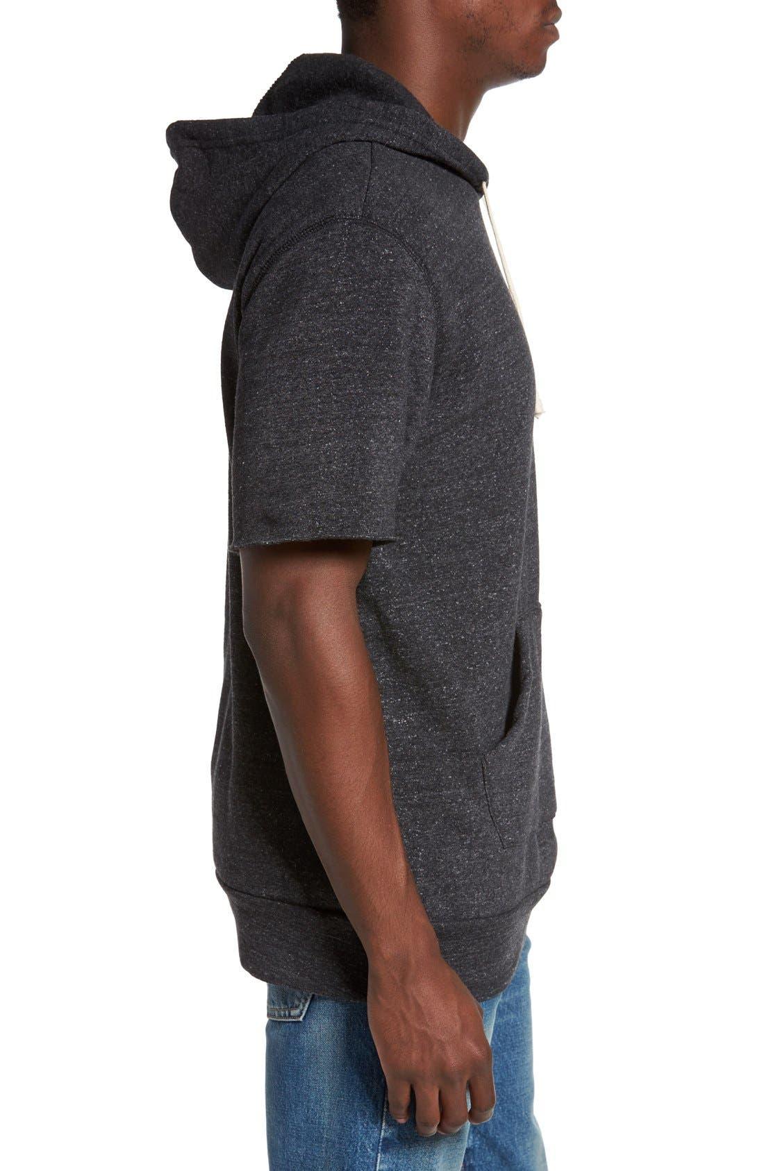 Short Sleeve Hoodie,                             Alternate thumbnail 3, color,                             Eco Black