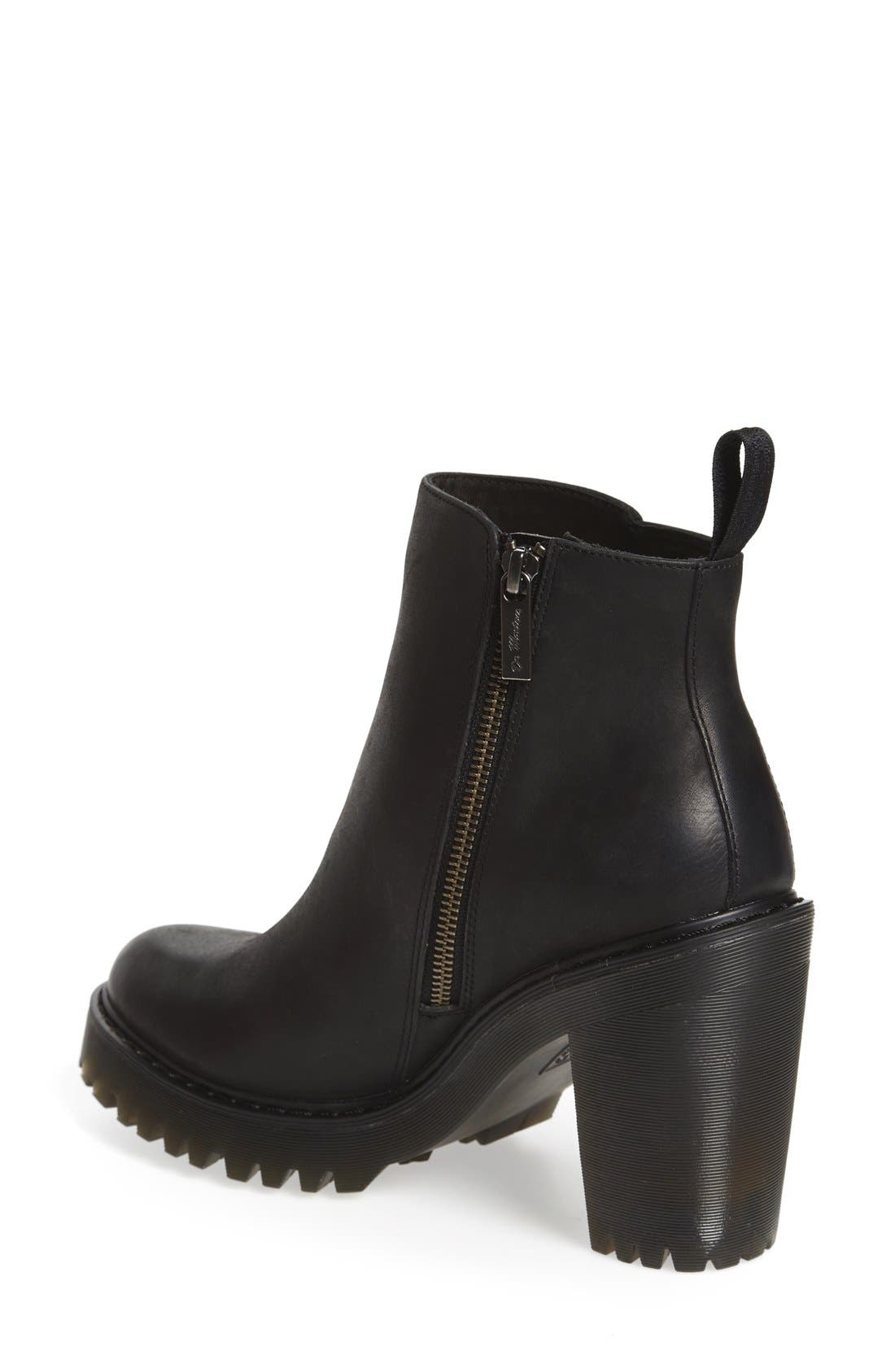 'Magdalena' Platform Bootie,                             Alternate thumbnail 2, color,                             Black Wyoming