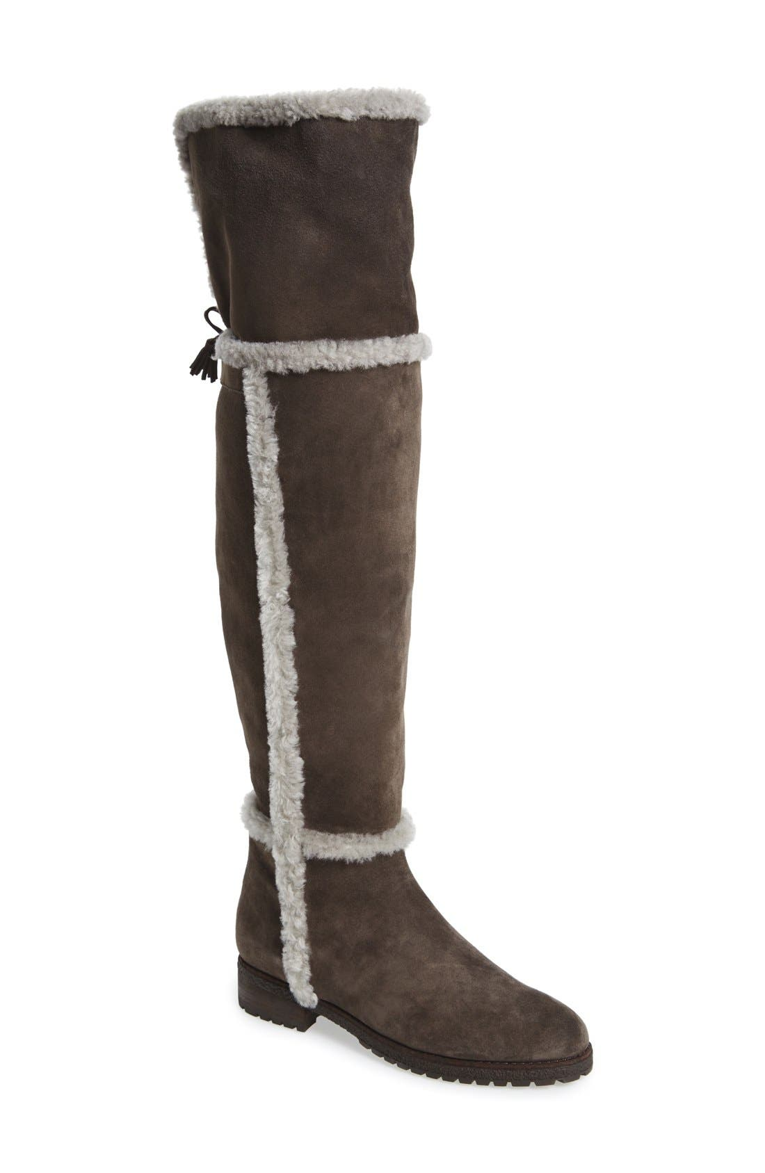 'Tamara' Genuine Shearling Over the Knee Boot,                             Main thumbnail 1, color,                             Smoke