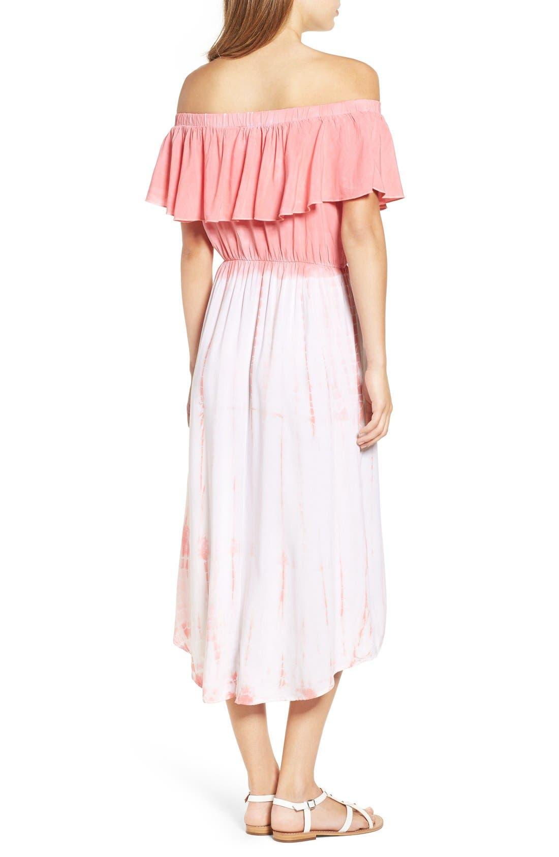 Alternate Image 2  - jella c. Off the Shoulder Tie Dye Midi Dress