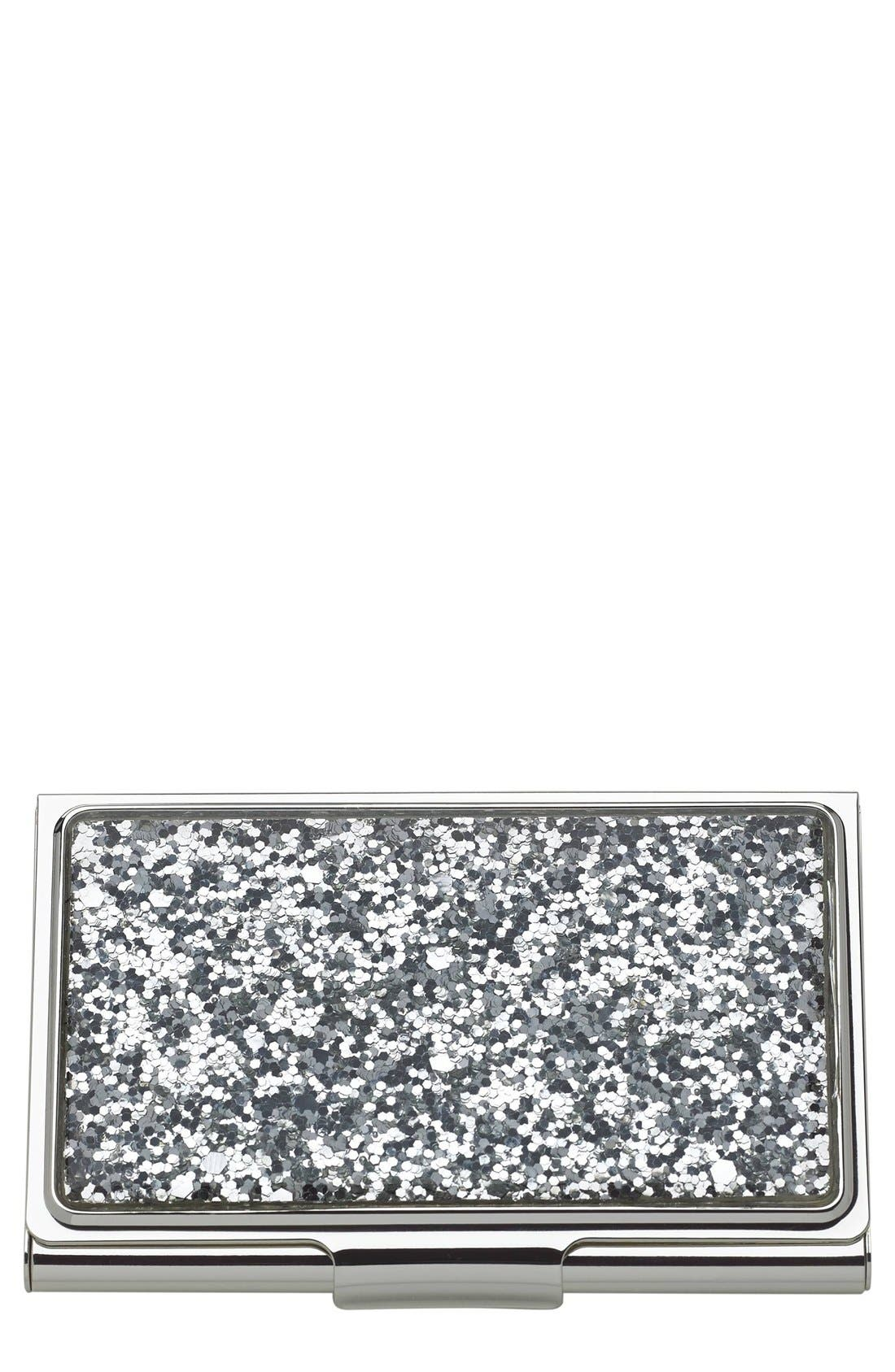 glitter business card holder,                         Main,                         color, Metallic Silver