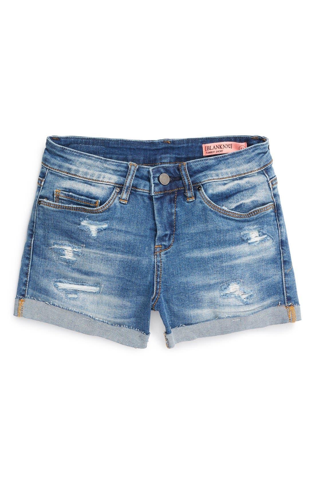 Main Image - BLANKNYC Distressed Roll Cuff Shorts (Big Girls)