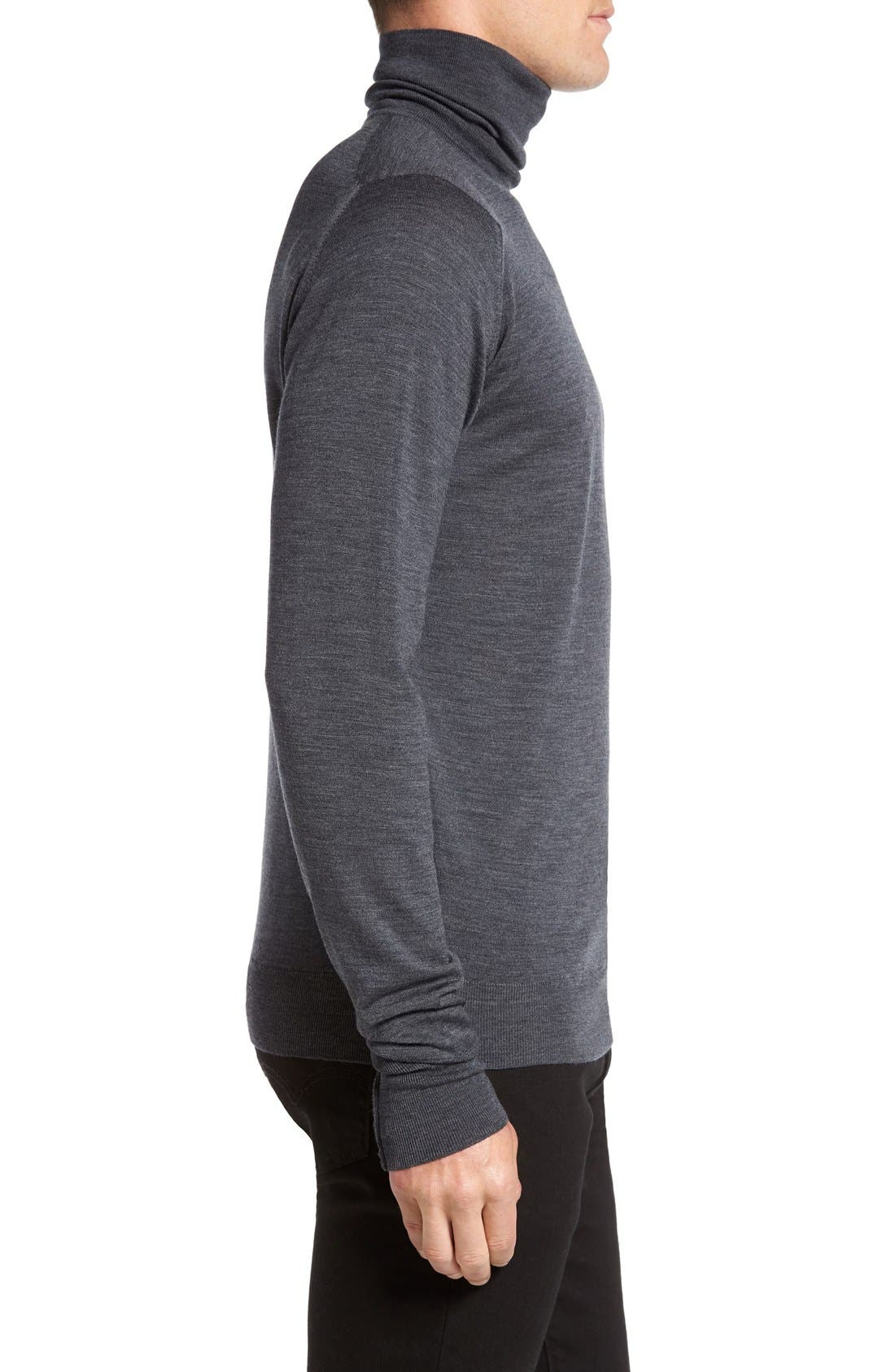'Richards' Easy Fit Turtleneck Wool Sweater,                             Alternate thumbnail 5, color,                             Charcoal