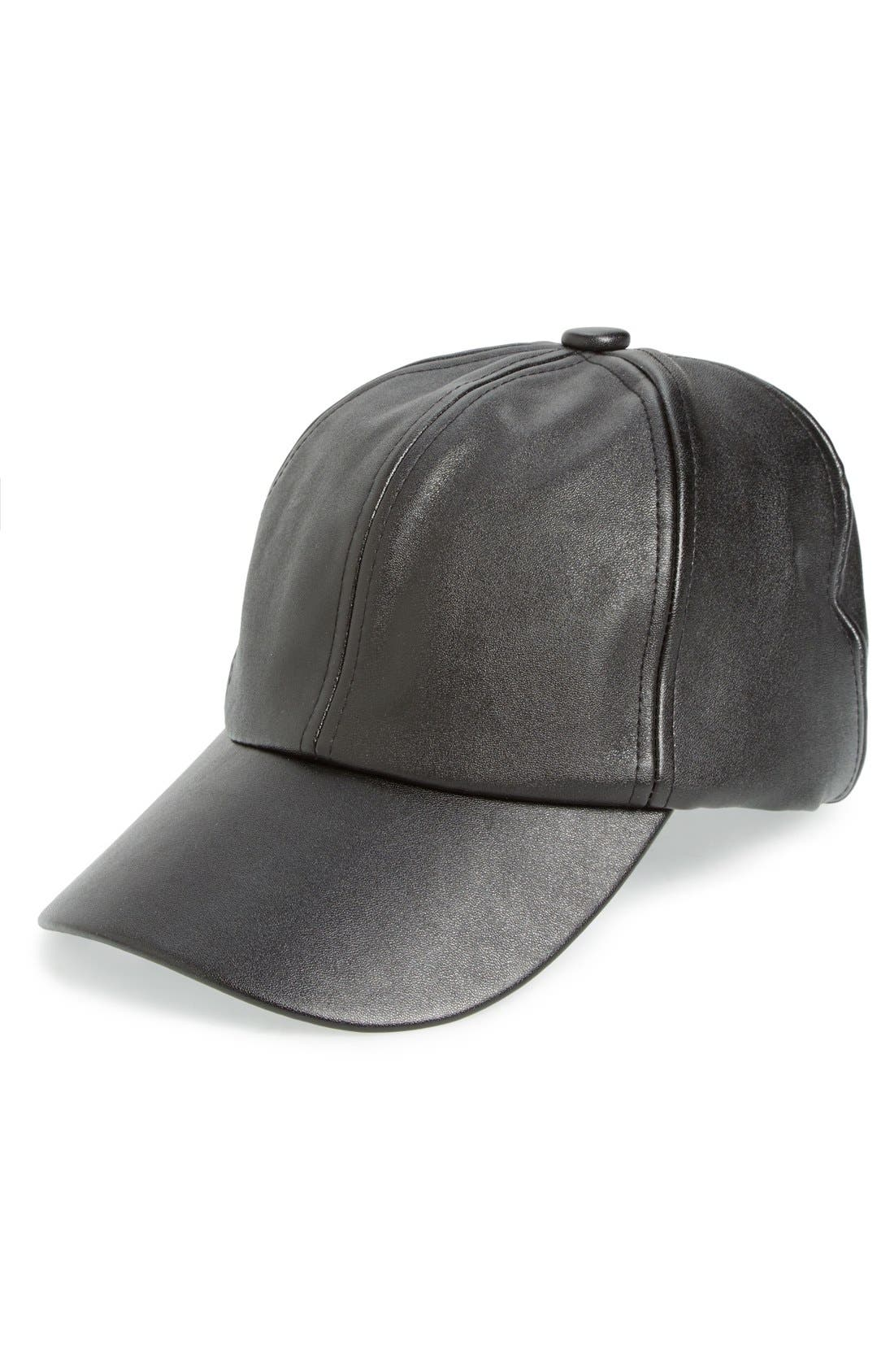 Alternate Image 1 Selected - Amici Accessories Faux Leather Ball Cap