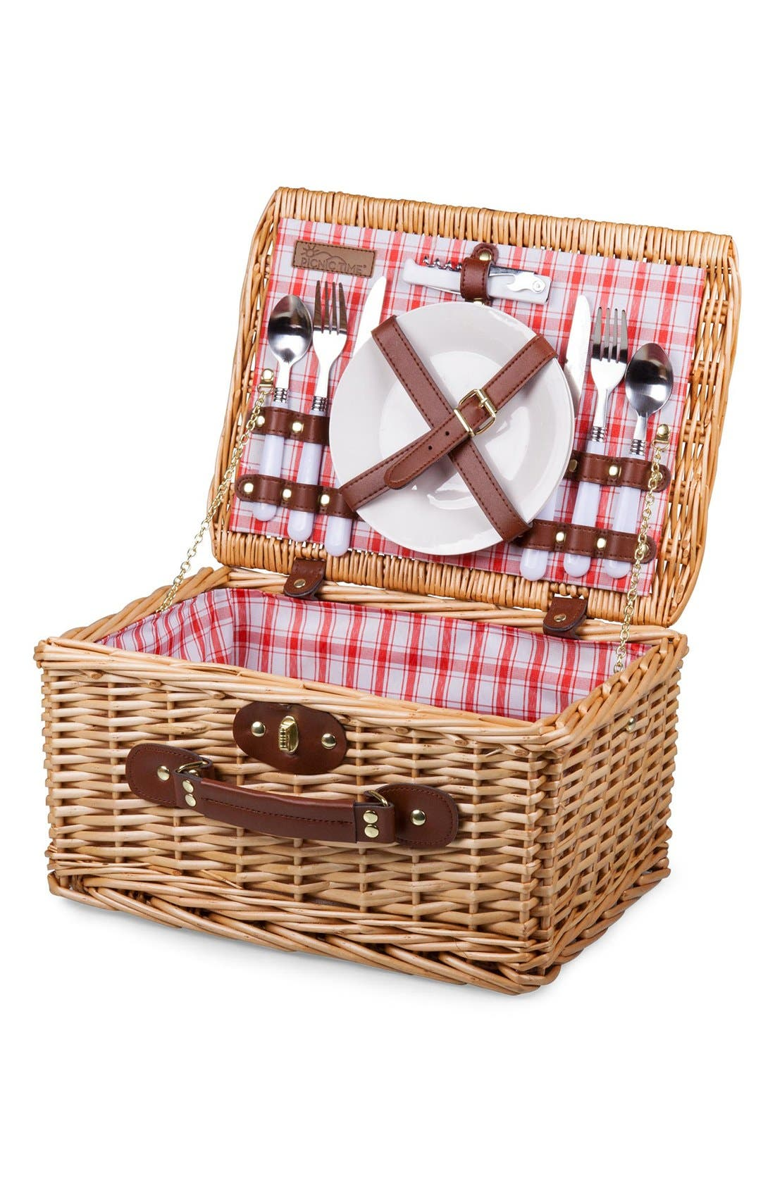 'Catalina' Wicker Picnic Basket,                             Alternate thumbnail 3, color,                             Red