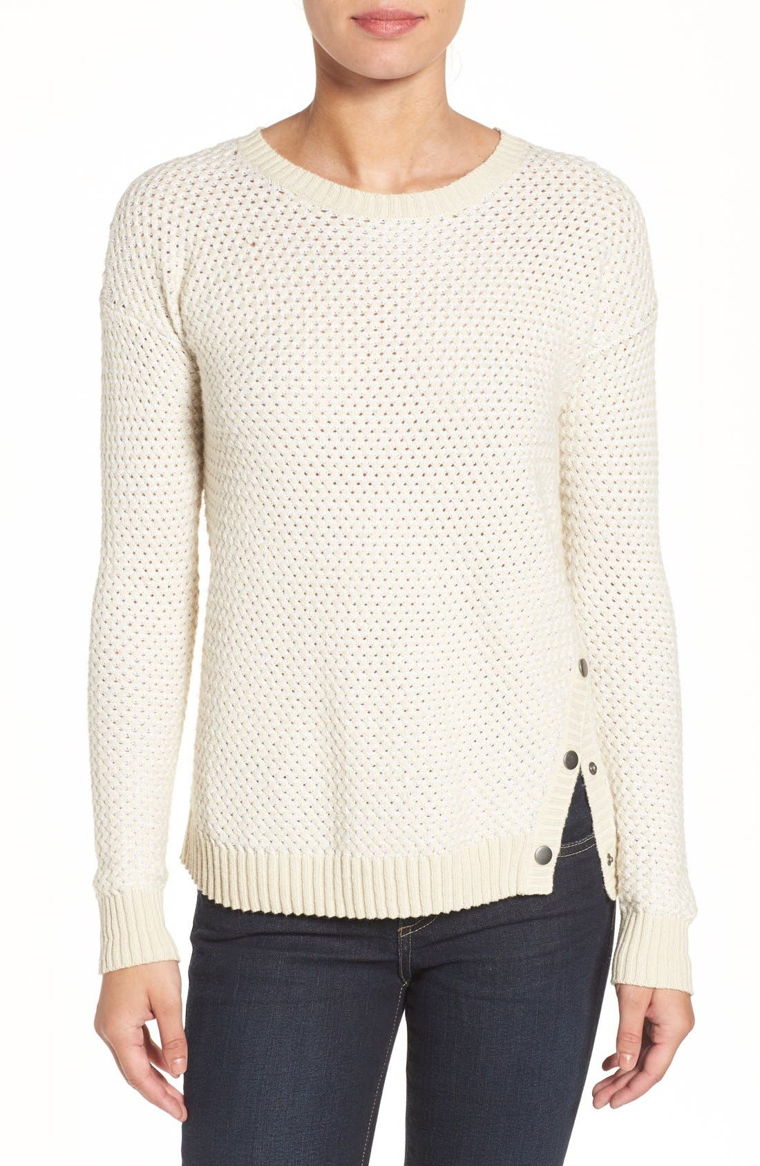 Side Snap Sweater,                         Main,                         color, Beige- White Pattern