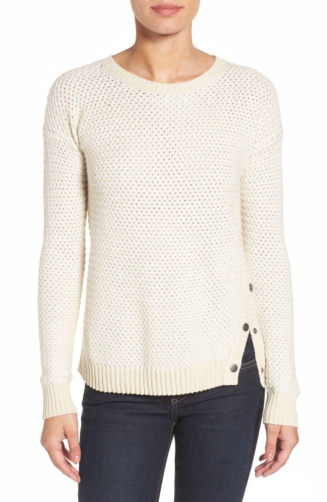 Caslon® Side Snap Sweater (Regular & Petite)