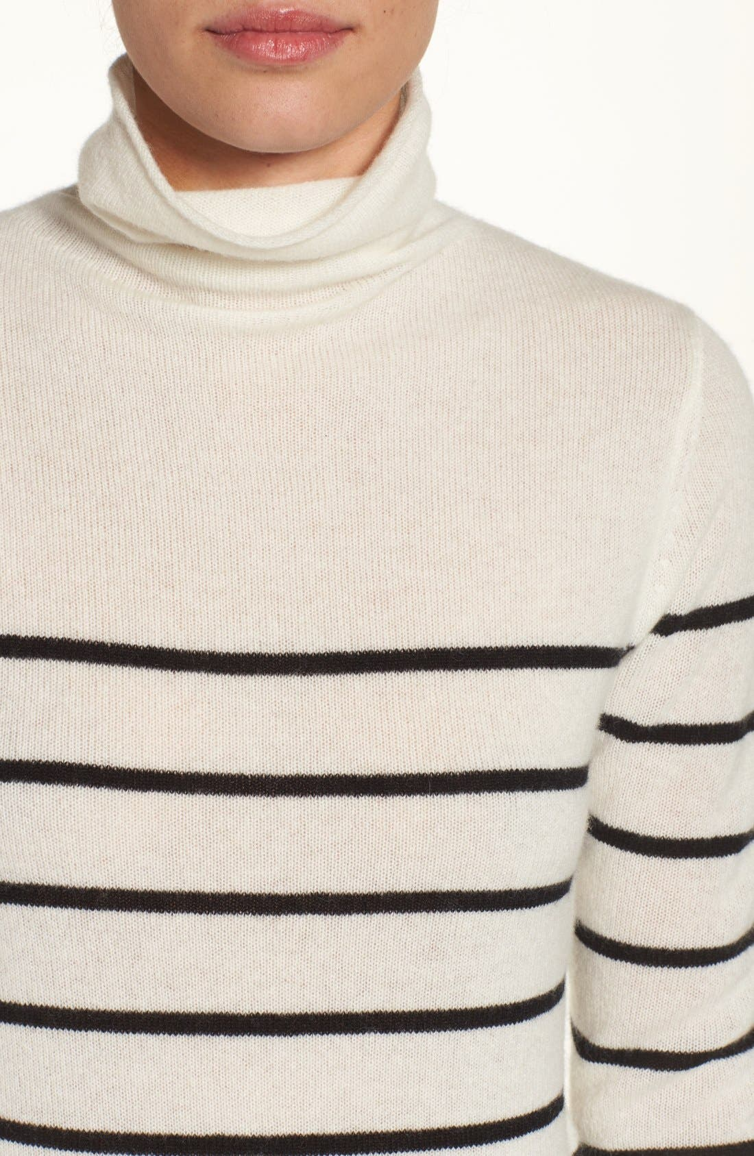 Wool & Cashmere Funnel Neck Sweater,                             Alternate thumbnail 4, color,                             Ivory- Black Stripe